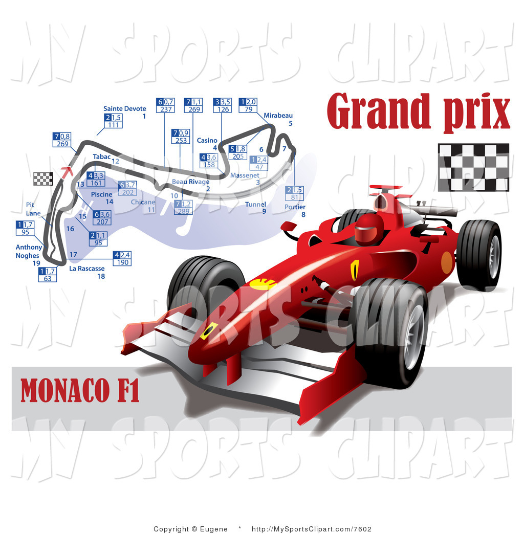 Sports Clip Art of a Car and Grand Prix Circuit by Eugene.