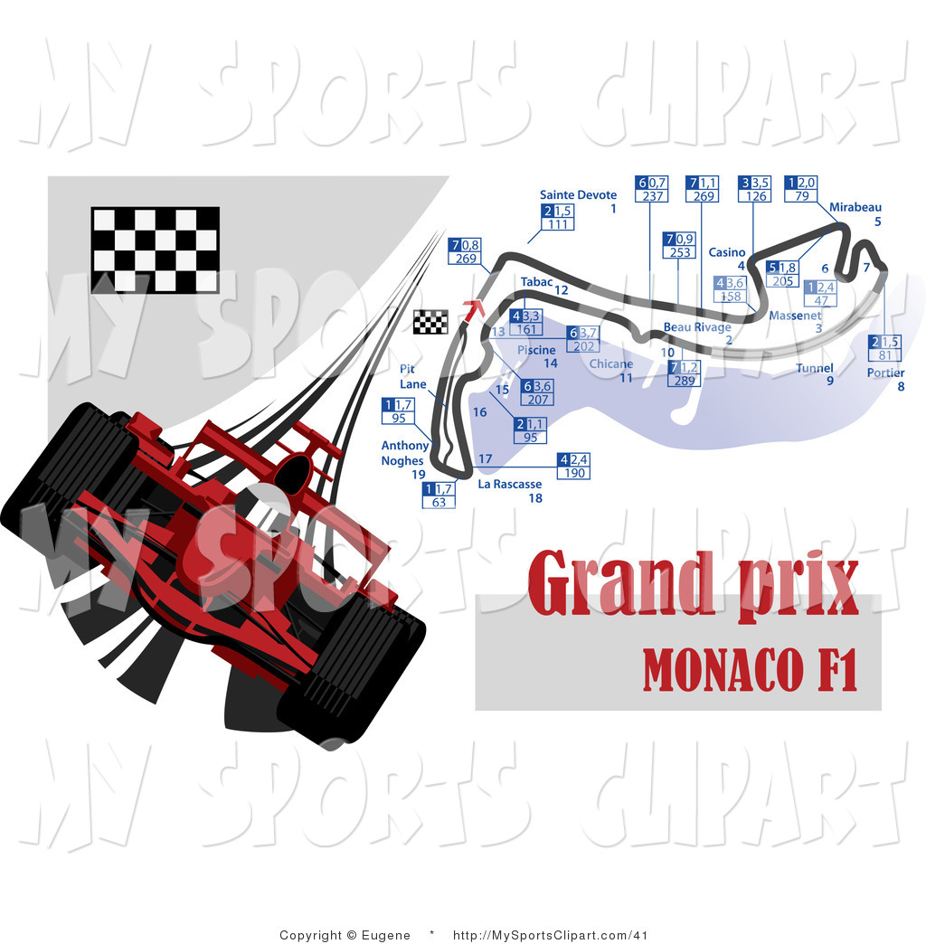 Sports Clip Art of a Red Formula One Race Car with the Grand Prix.