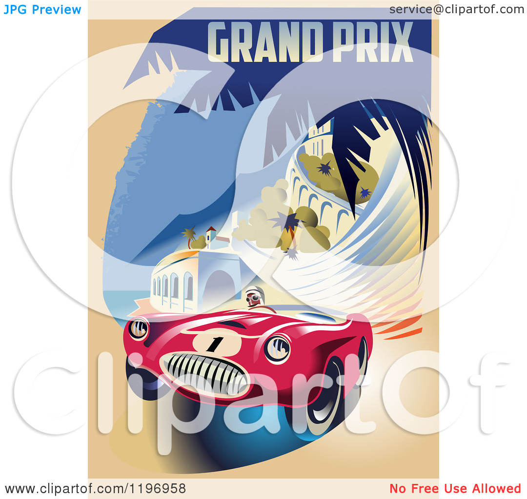 Clipart of a Retro Grand Prix Monaco Racing Poster.