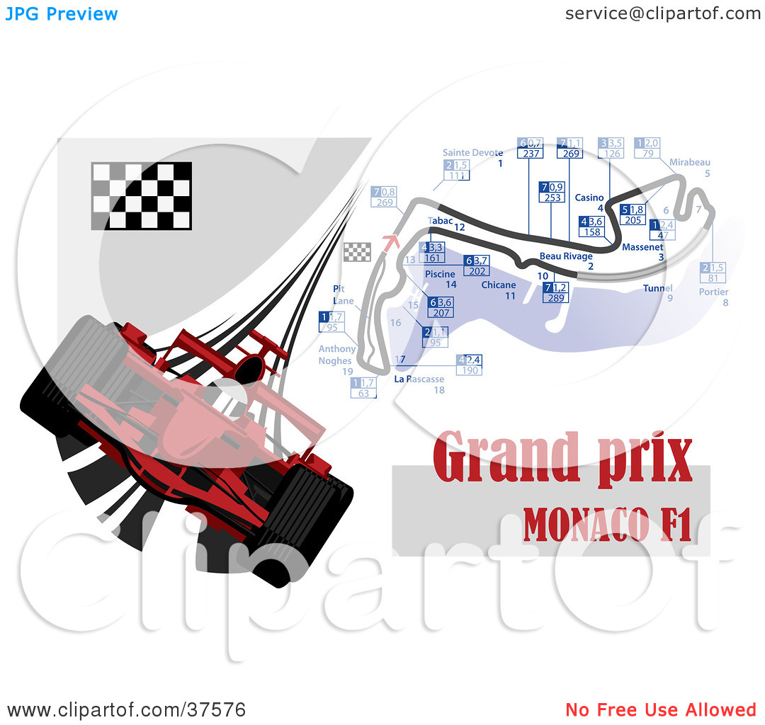 Clipart Illustration of a Red Formula One Race Car With The Grand.