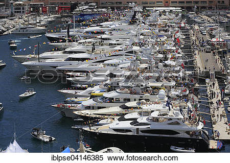 Stock Image of Port Hercule with yachts, Formula 1 Grand Prix.