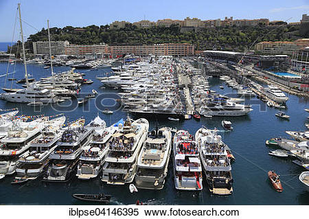 Stock Image of View of Port Hercule with yachts during the Formula.