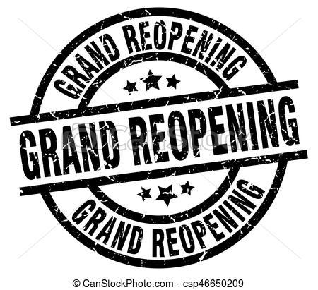 grand reopening round grunge black stamp.