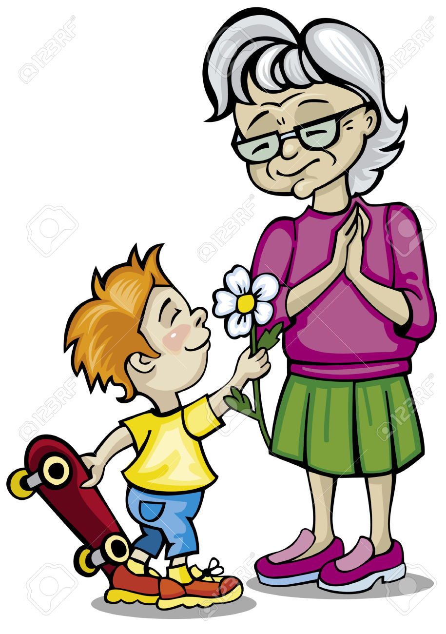 Grandmother and grandson clipart.