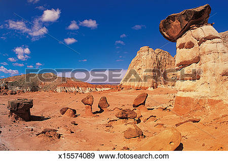 Stock Photograph of Toadstool Caprocks, Grand Staircase, Escalante.