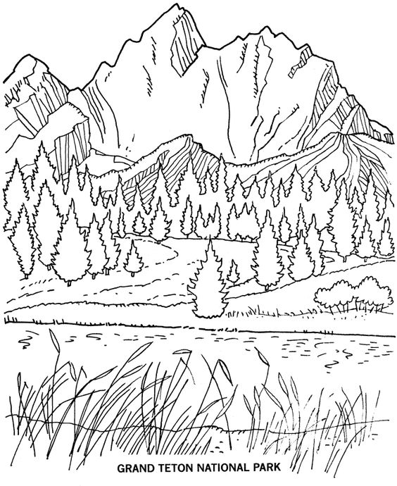 Grand Teton National Park Coloring Page.