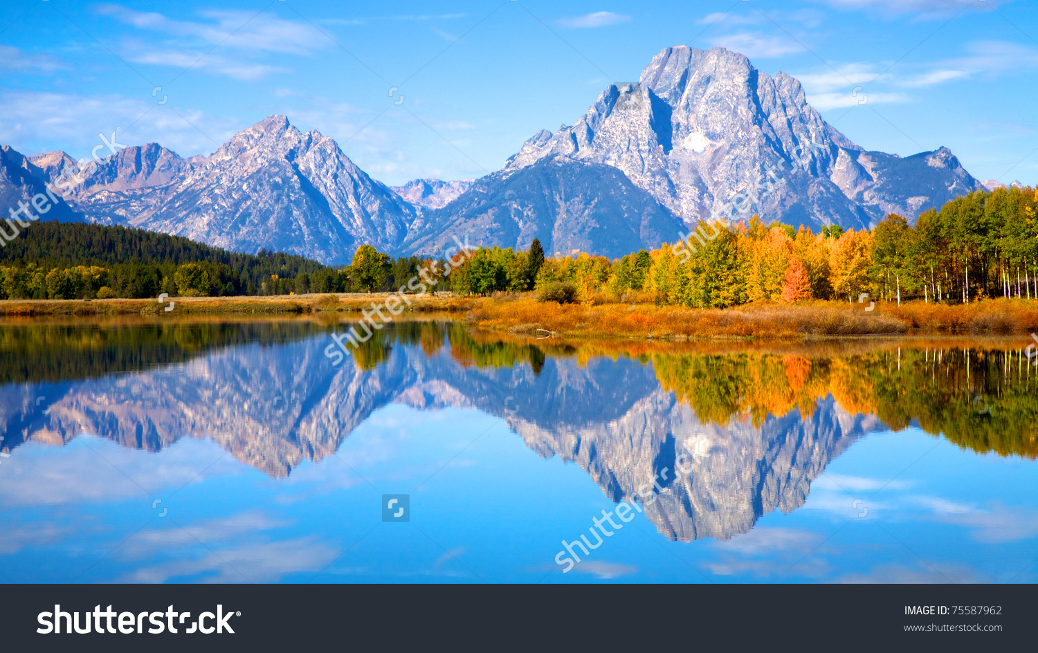 View Grand Teton Mountains Oxbow Bend Stock Photo 75587962.