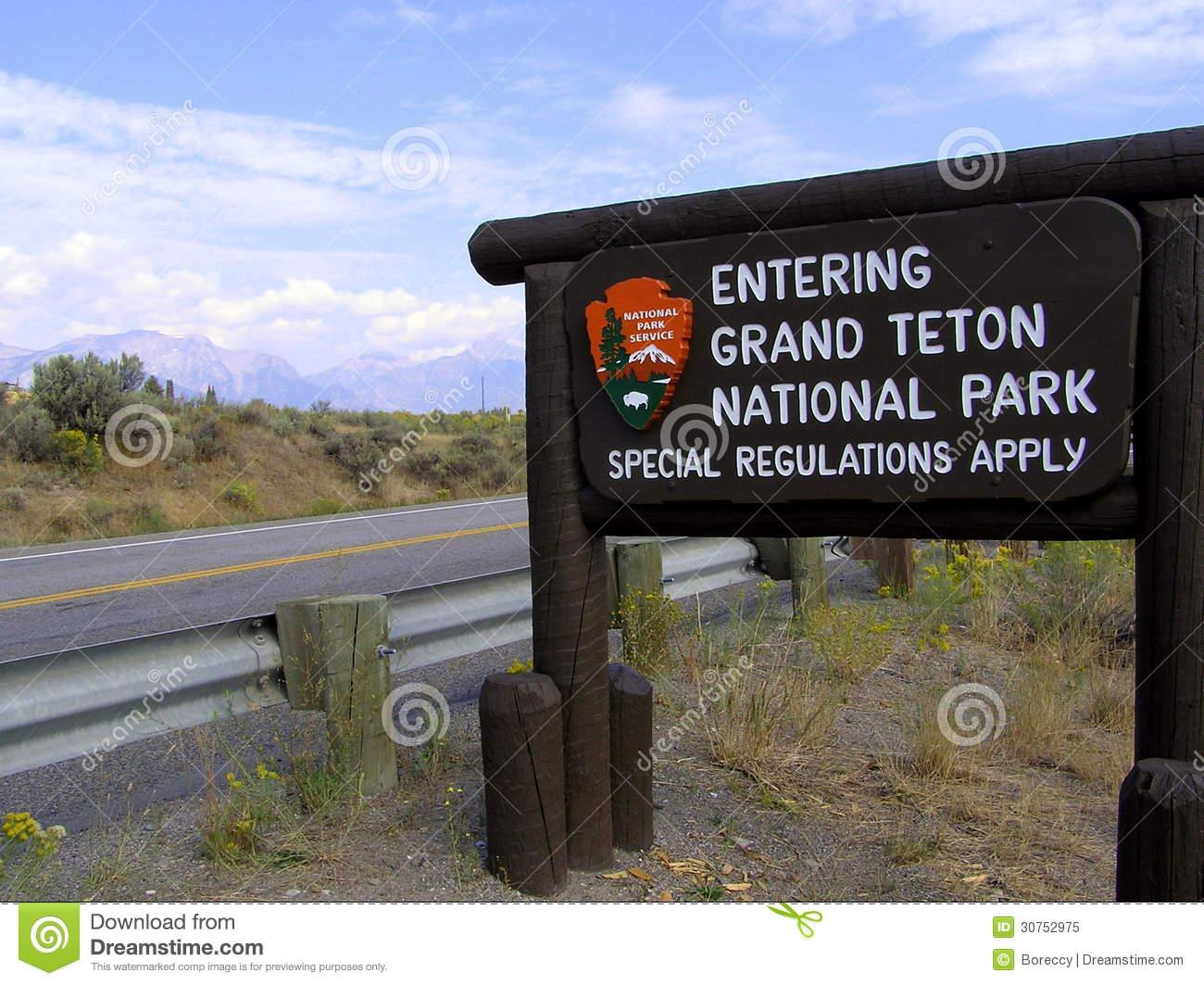 Grand Teton National Park Sign Board Royalty Free Stock Photo.