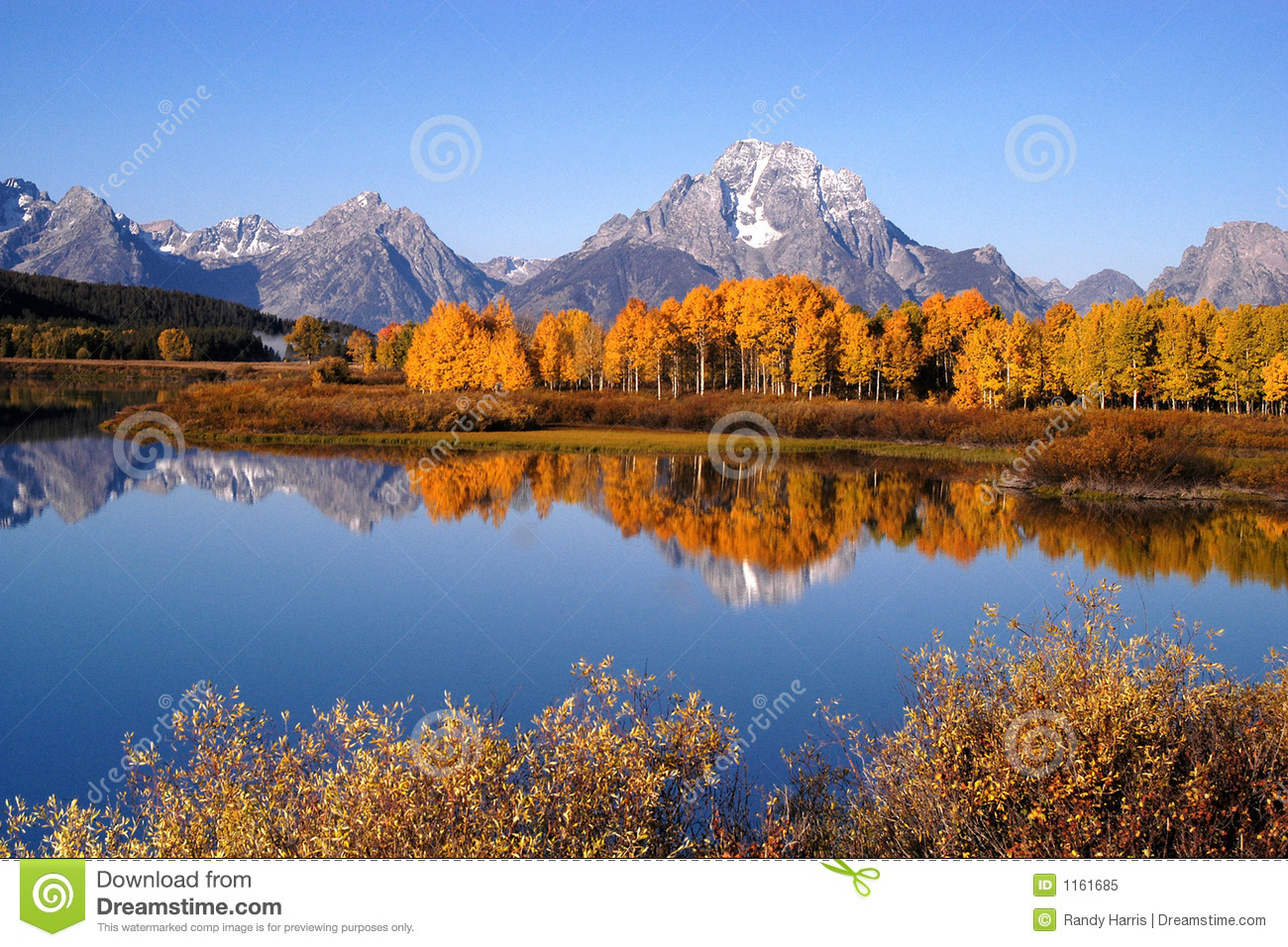 Oxbow Bend Near Grand Teton National Park Royalty Free Stock Photo.