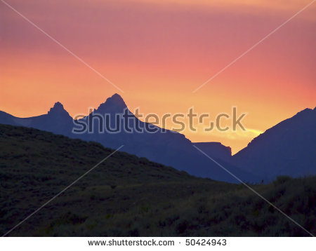 Sunset Silhouettes Tetons Mountain Range, Grand Teton National.