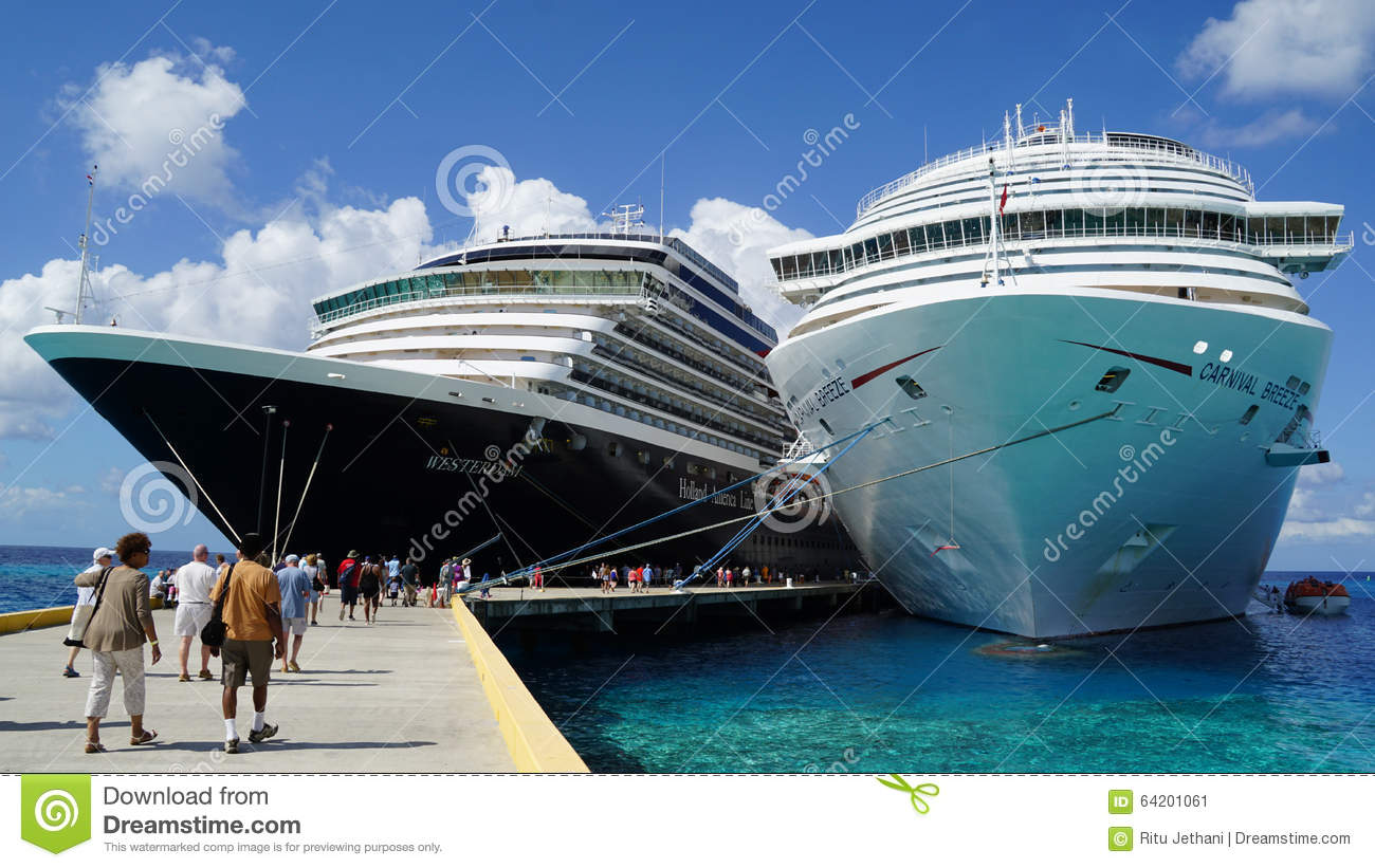 Carnival Breeze Docked In Grand Turk, Turks And Caicos Islands.