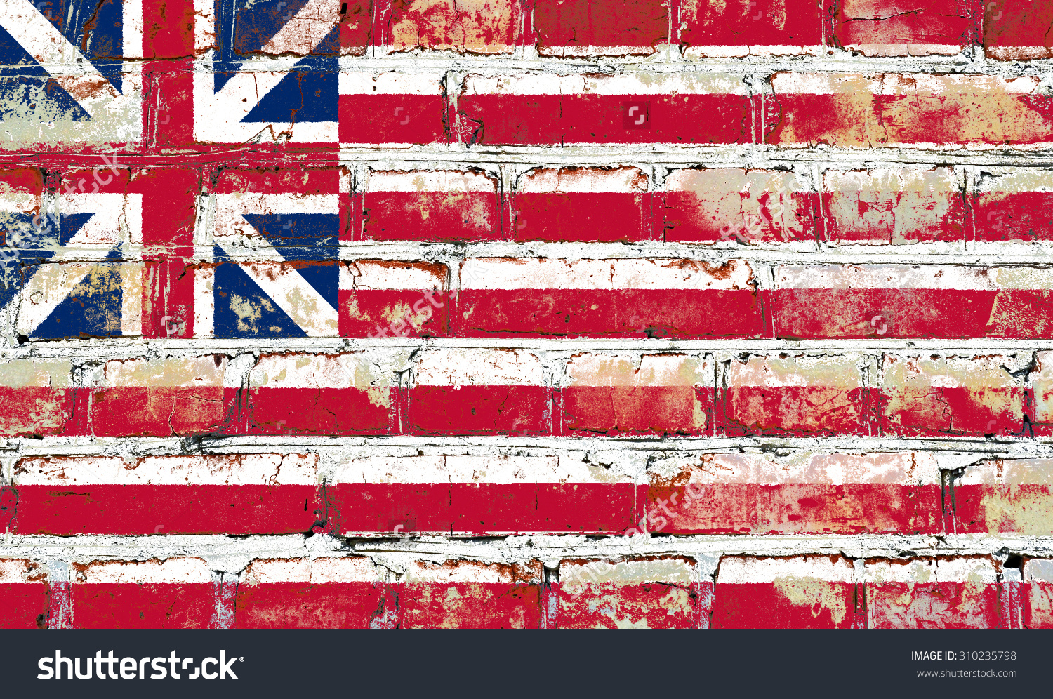 Grand Union Flag Painted On Old Brick Wall Texture Background.