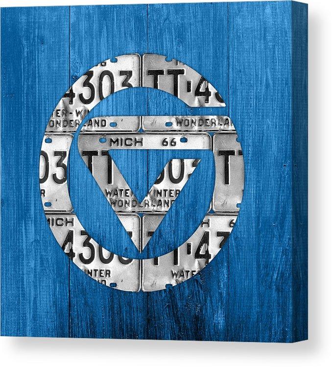 Grand Valley State University Gvsu Vintage Michigan Recycled License Plate  Logo Art Canvas Print.