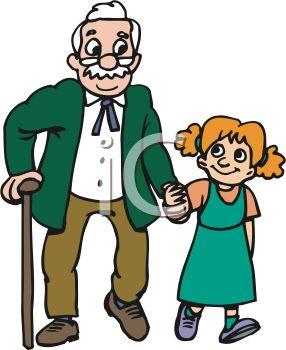 Girl and grandpa clipart.