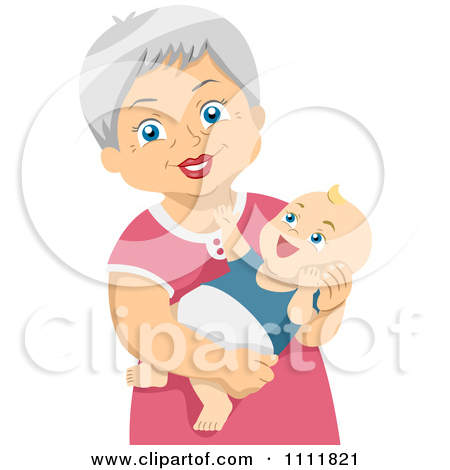 Grandparents with baby girl clipart.