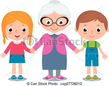Grandma and grandchild clipart.