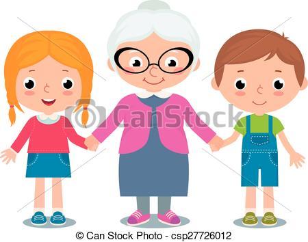Grandma and grandchild clipart.