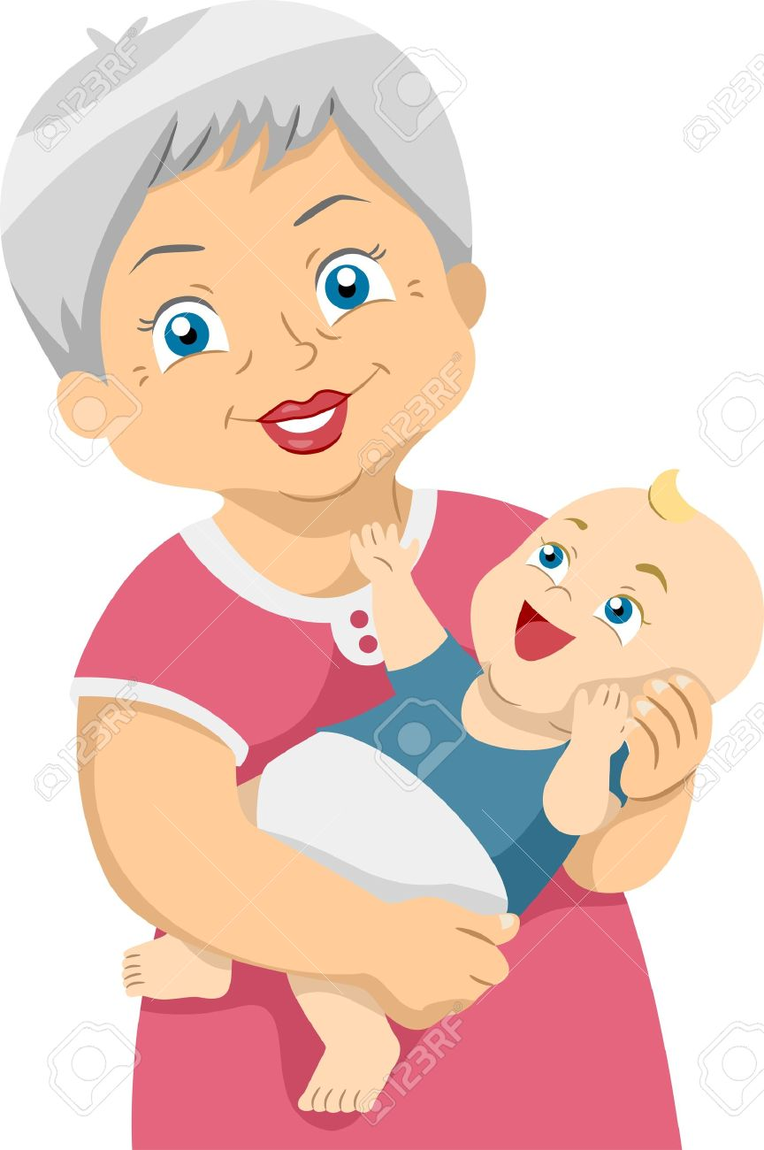 Clipart images of younger grandmother and grandchild.