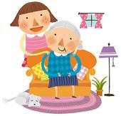 Cartoon Grandma And Granddaughter Clipart.