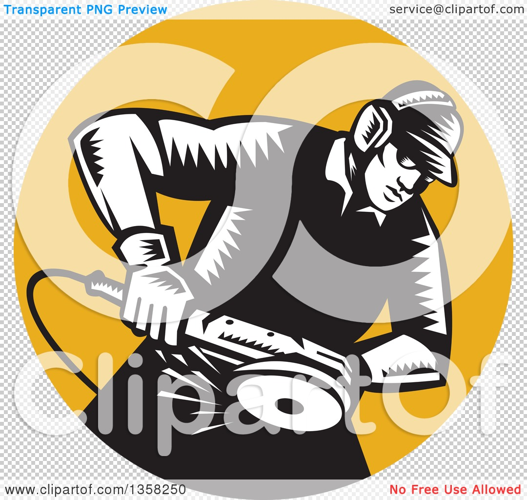 Clipart of a Retro Black and White Woodcut Male Worker Using an.