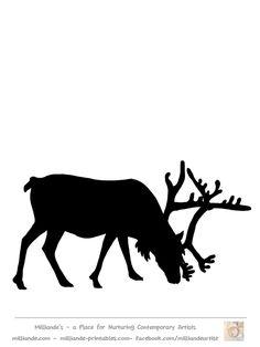 Free Reindeer Clip art , Reindeer Silhouette Template at www.