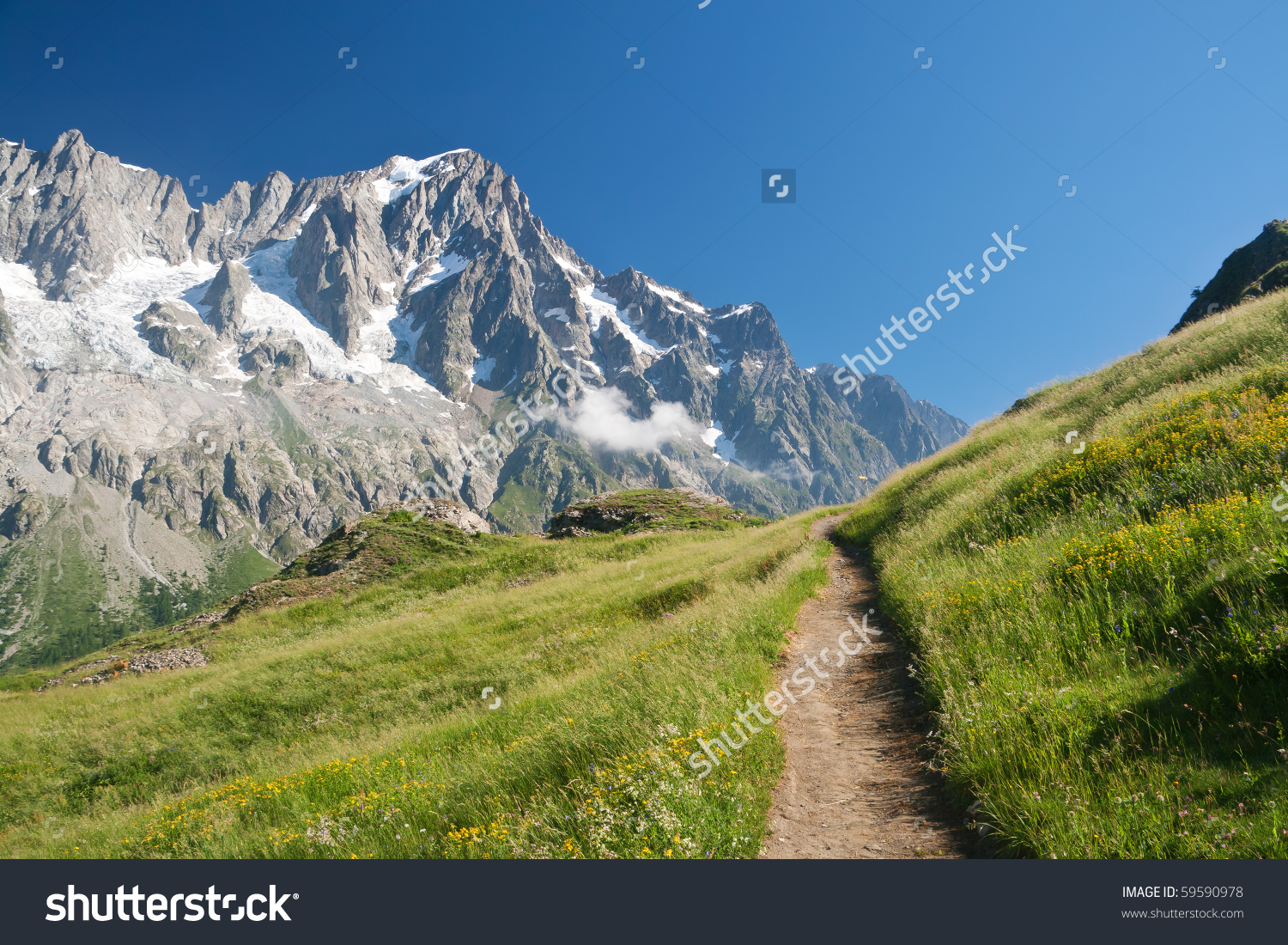 Small Path In Italian Alps On Summer. On The Background Les.