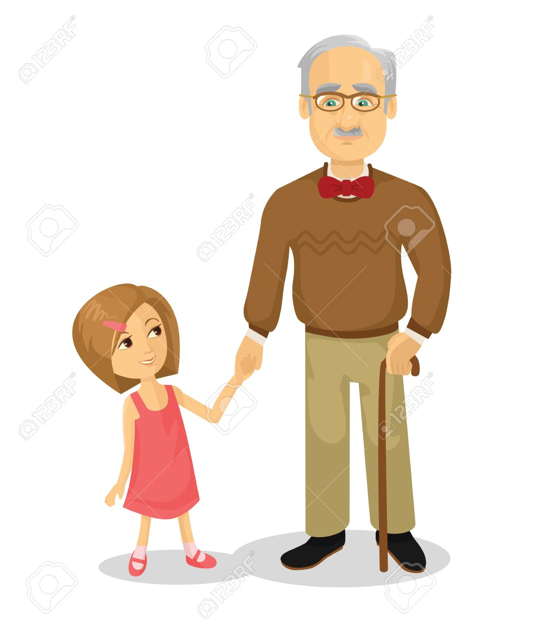 Grandfather and grandson. Vector flat cartoon illustration.