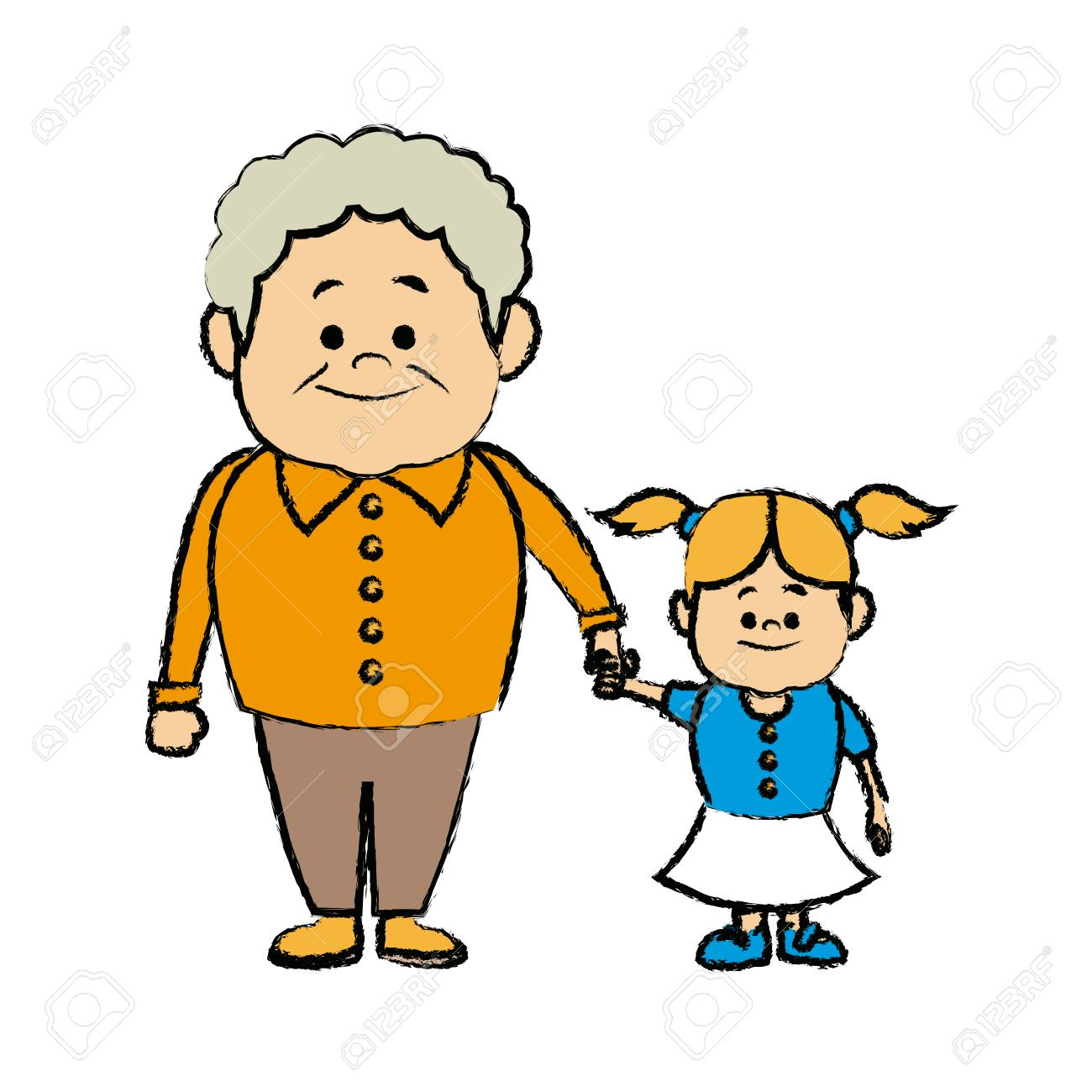 cute grandpa with granddaughter funny together vector illustration.