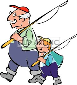 Grandfather and grandson going fishing clipart. Royalty.