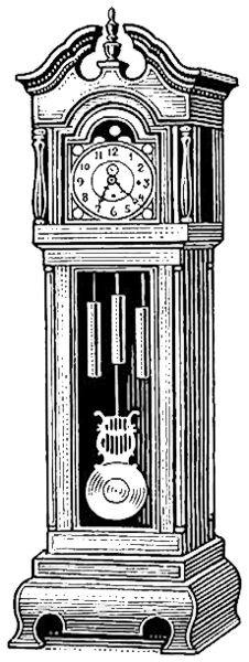 Grandfather Clock Bw Clipart.