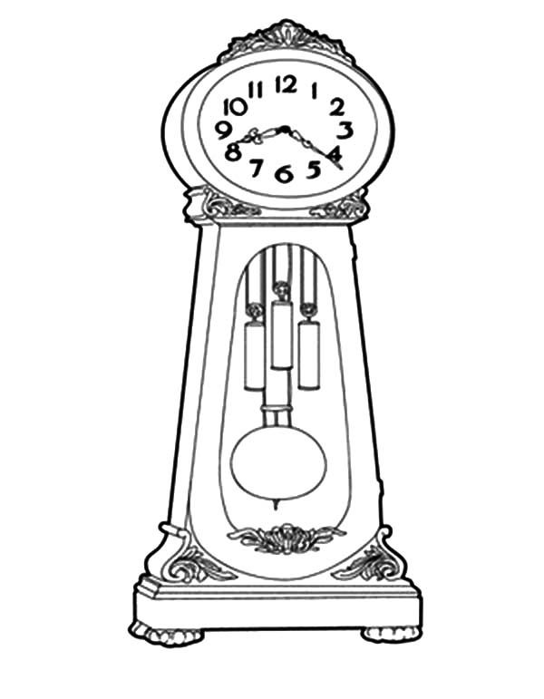 Grandfather Clock, : How to Draw Grandfather Clock Coloring.