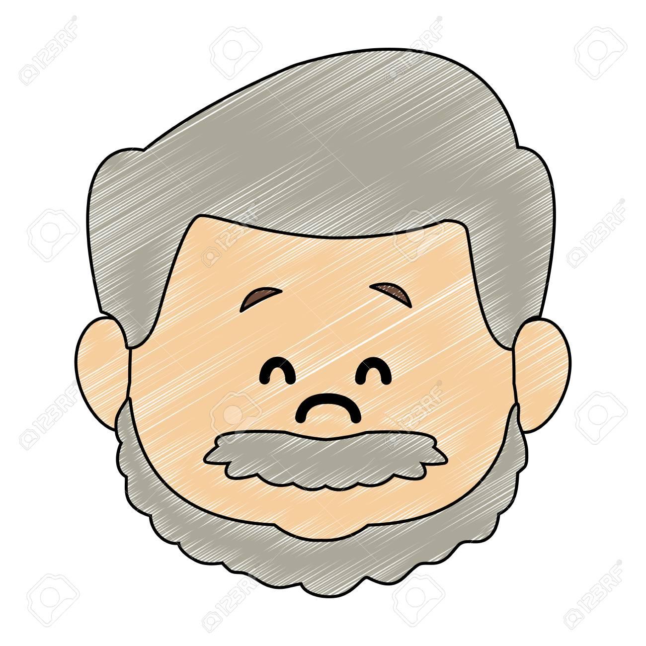 Cut grandfather face cartoon vector illustration graphic design.