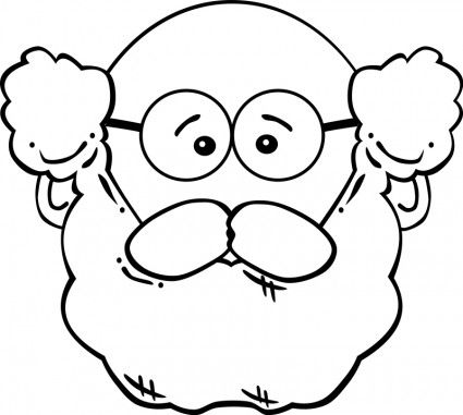 grandfather face clipart with glasses black and white.