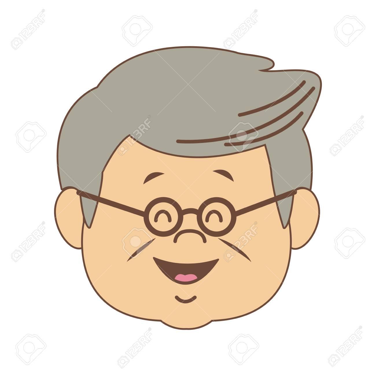 Cute grandfather face cartoon vector illustration graphic design.