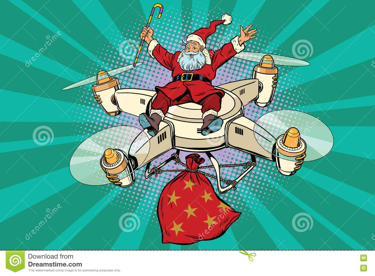Retro Santa Claus Flies On The Drone Stock Vector.
