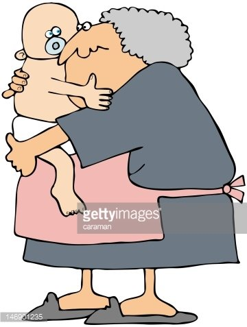 Grandma Holding A Baby Clipart Image.