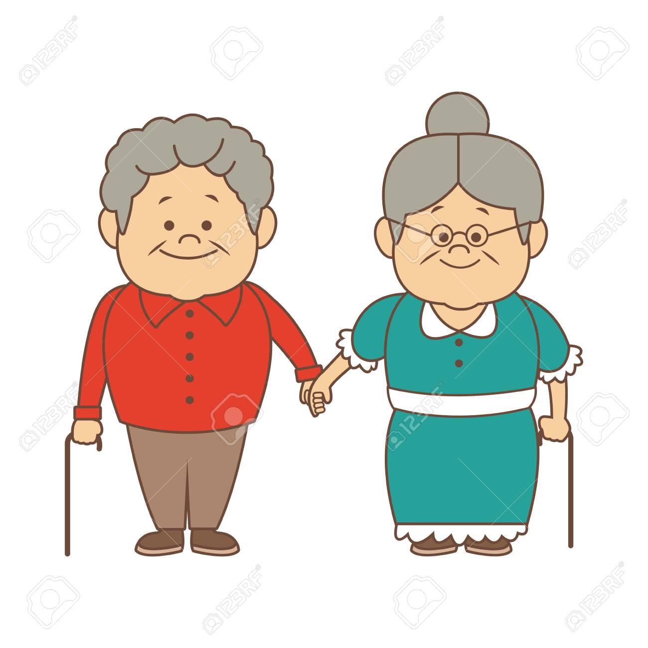 happy grandparents holding hands grandpa and grandma standing...