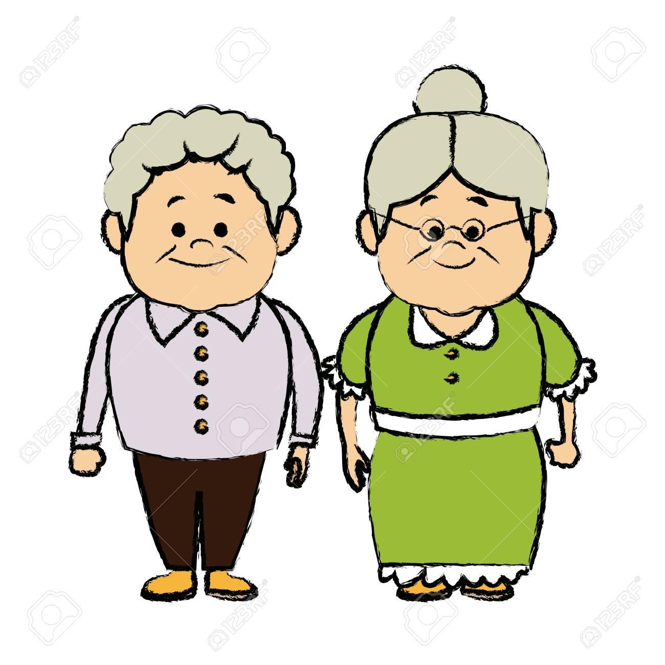 grandpa and grandma standing lovely image vector illustration.