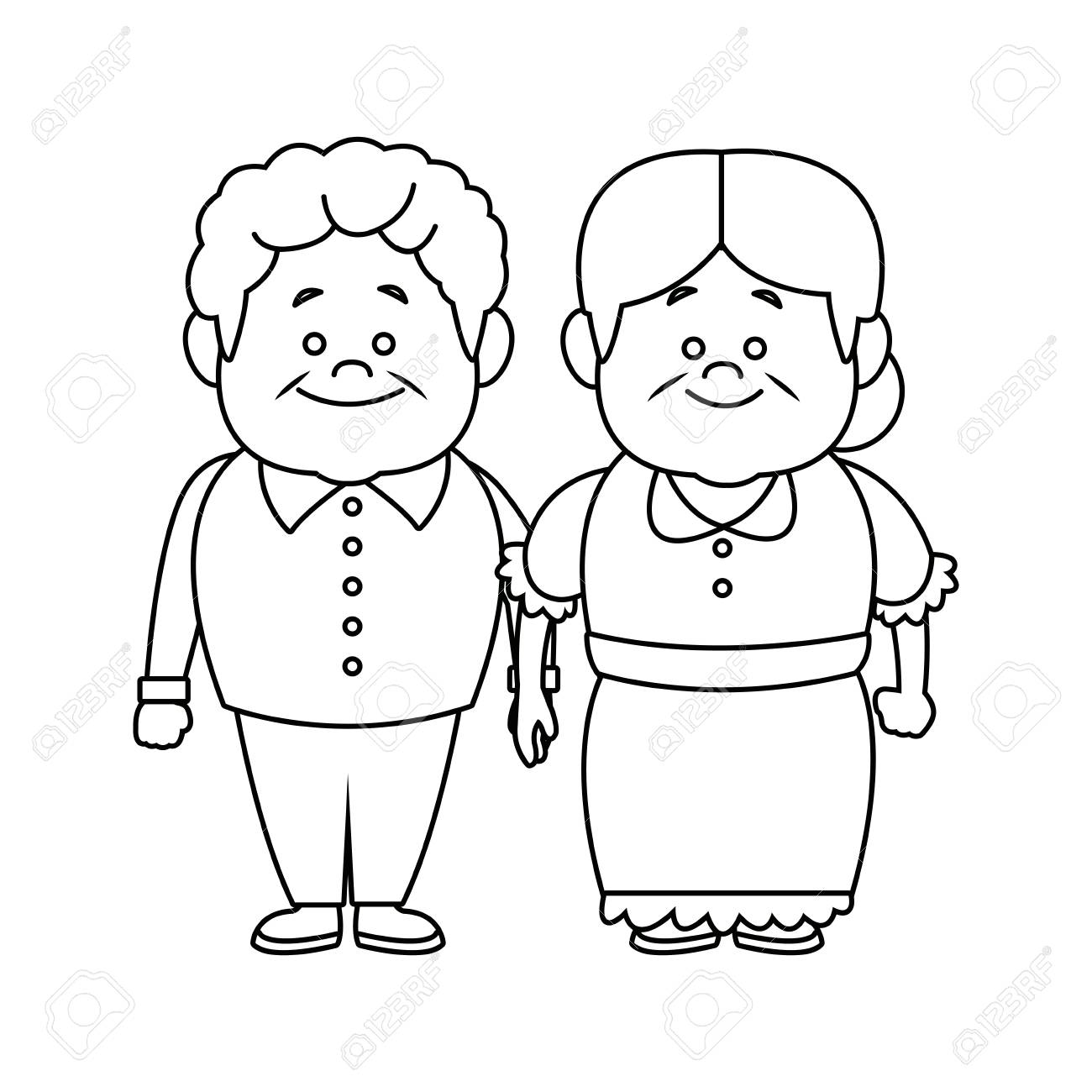 happy grandpa and grandma parents standing together vecto illustration.