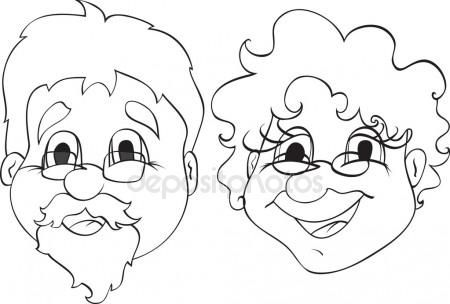 cartoon drawing of grandmother and grandfather together.