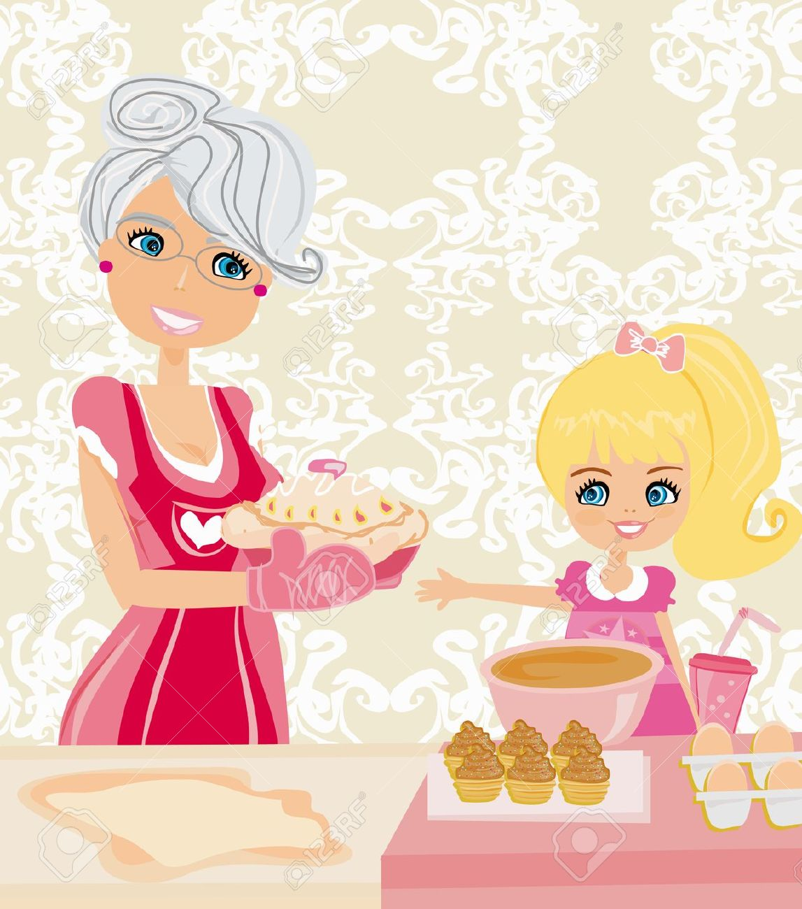 Showing post & media for Cartoon grandma baking cookies.