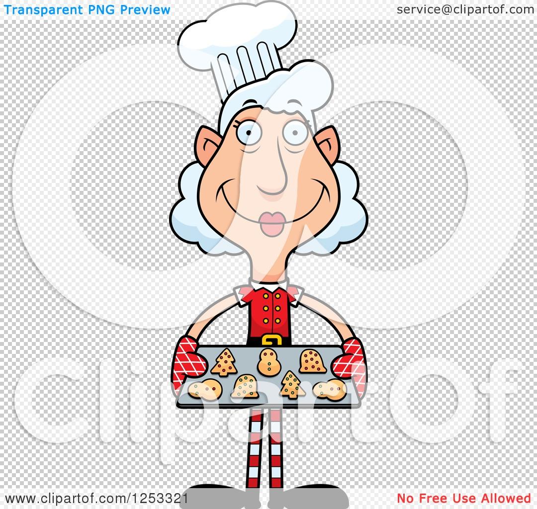 Clipart of a Happy Grandma Christmas Elf Baking Cookies.