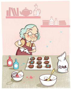 Grandma Baking Cookies Clipart.