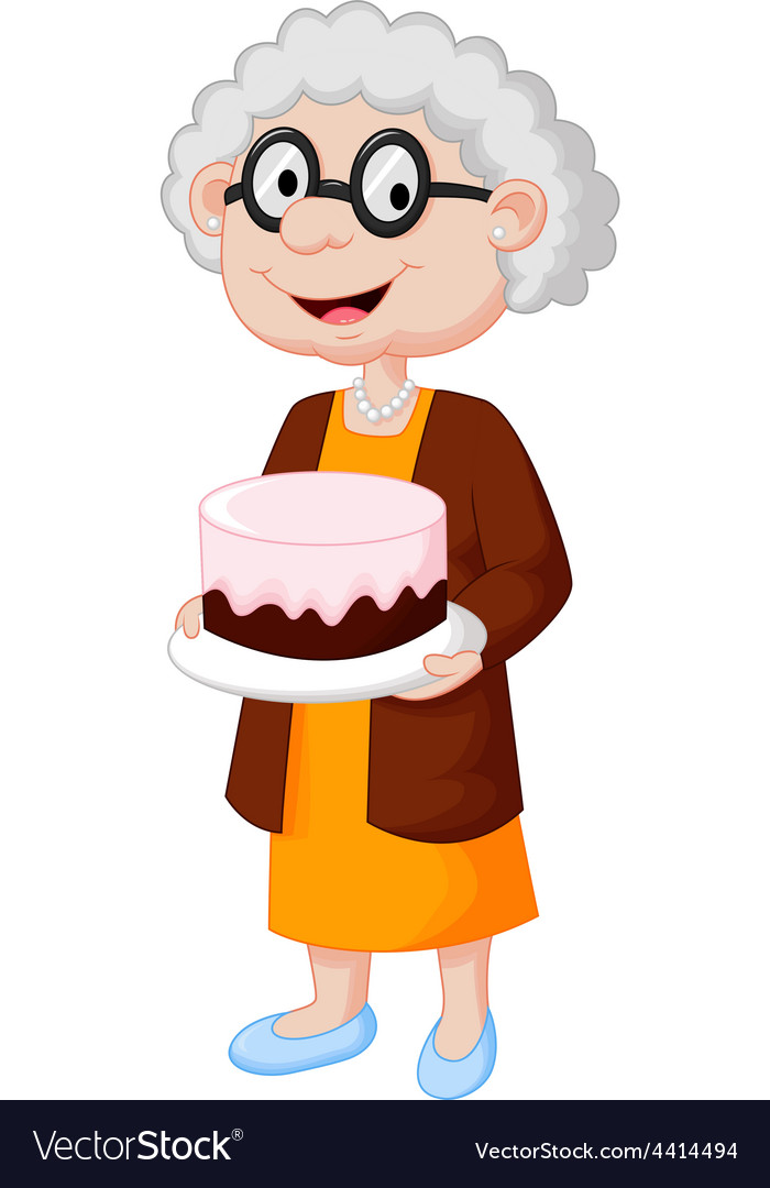 Grandmother with birthday cake.