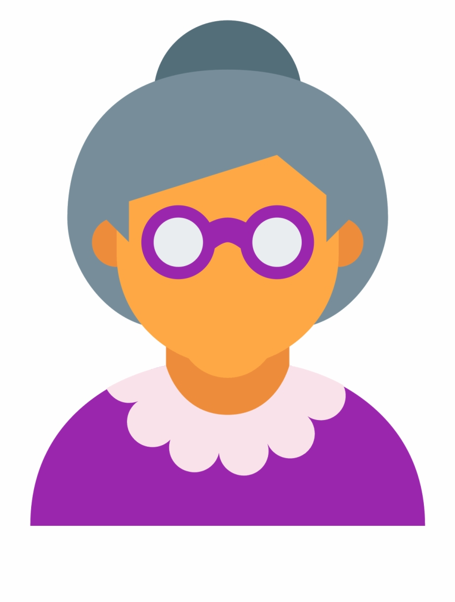 Woman Old Icons Age Computer User Grandma Clipart.