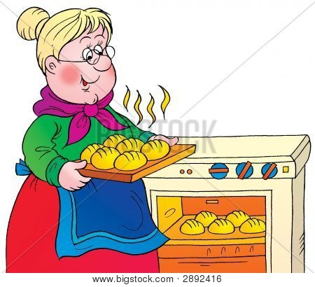 Cooking Grandma And Granddaughter Clipart#2019126.
