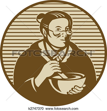 Stock Illustrations of old woman or granny cooking ixing bowl.