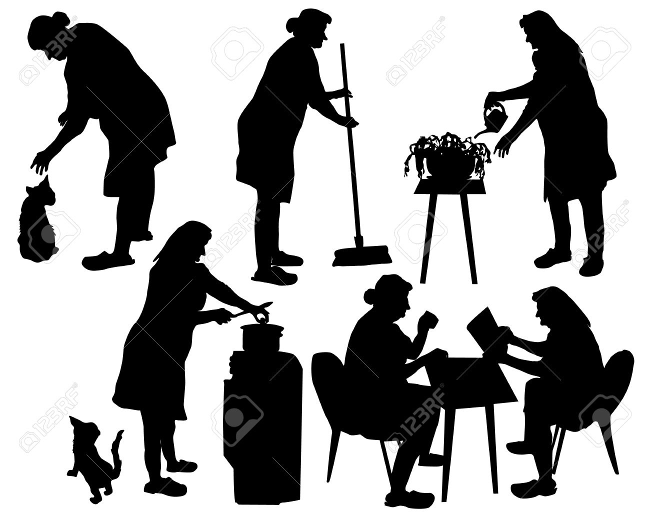 Silhouettes Of Grandmother Taking Care Of Household And Relaxing.