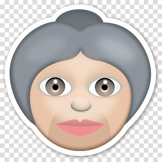 The Emoji Movie Sticker Emoticon iPhone, grandma transparent.