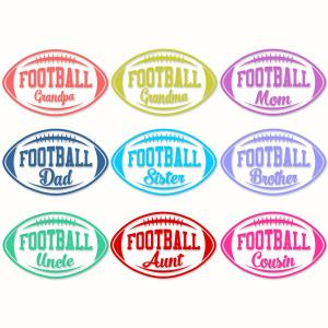 Football Family Names Pack with Grandpa, Grandma, Mom, Dad, Sister.